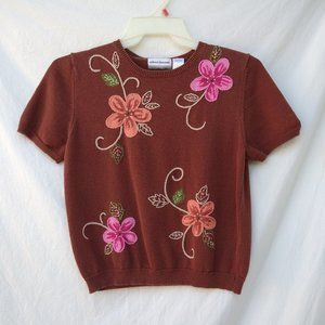 Alfred Dunner Brown Floral Sweater Top - MP